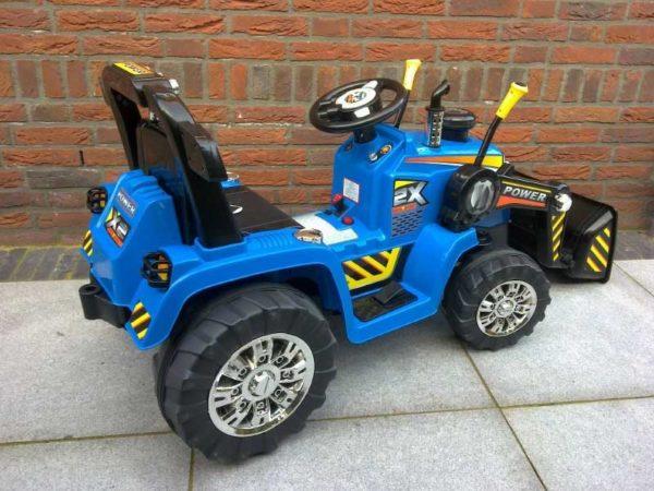 Elektrische Kinderauto Tractor Blauw