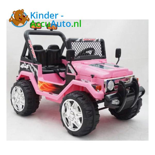 Elektrische kinderauto jeep raptor roze 4
