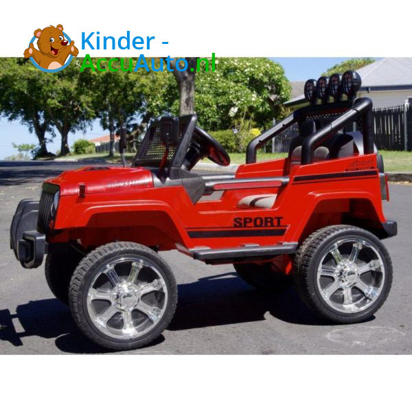 Monster Jeep Kinderauto Rood 3