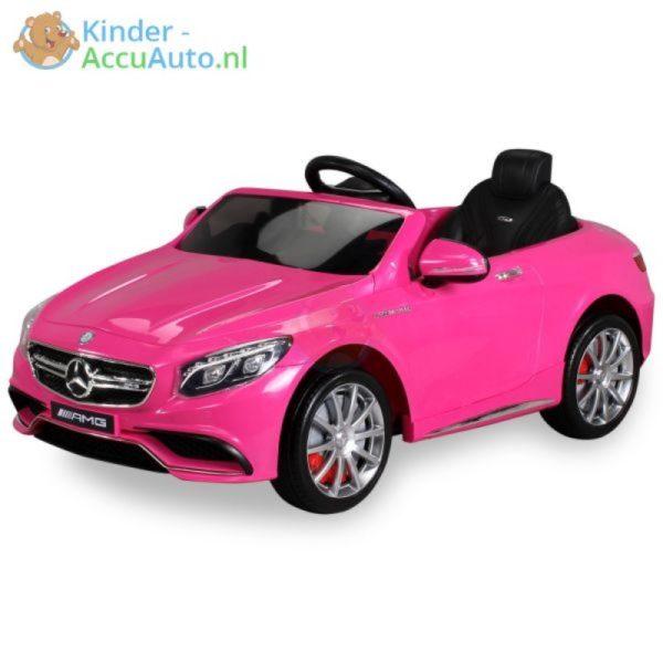 Kinder accu auto mercedes S63 amg roze 28 1