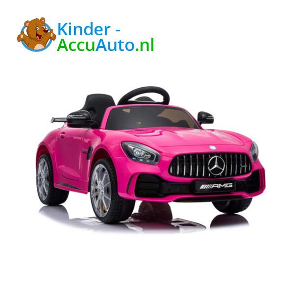 Elektrische kinderauto mercedes GTR AMG roze 2