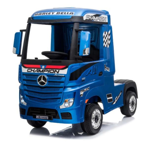 Elektrische kinder vrachtwagen mercedes actros blauw 6